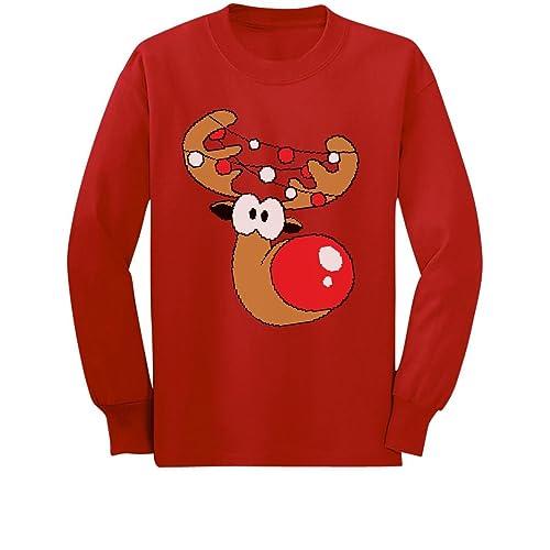 bf216fe877fc2e Cute Reindeer Boy/Girl Christmas Toddler/Kids Long Sleeve T-Shirt 5/