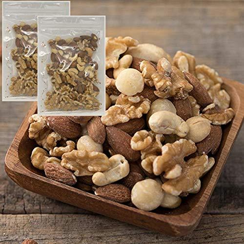 無添加 無塩 4種のミックスナッツ 200g (100g×2袋) 生くるみ アーモンド カシューナッツ マカダミアナッツ