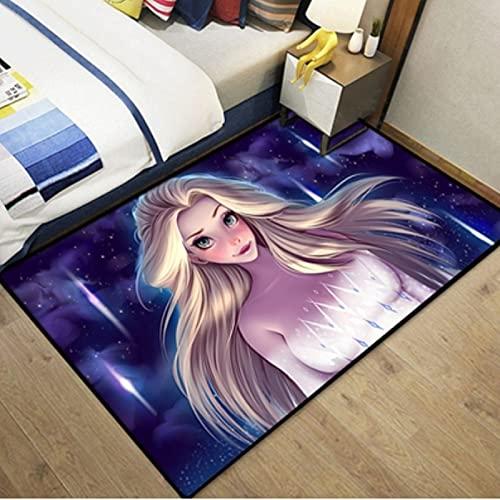 ZFGJ Alfombra Habitación De Niña Dormitorio Sala De Estar Junto A La Cama Estera Antideslizante Creativa Dibujos Animados del Hogar Princesa De Hielo Y Nieve Decoración De Alfombra Personalizada