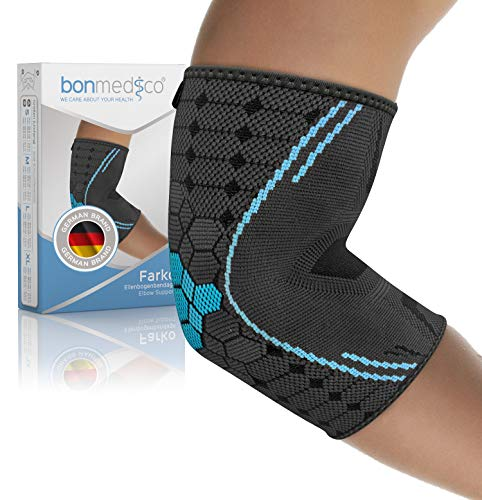 bonmedico Farko Ellenbogen-Bandage unisex, stützt Ellenbogengelenk & Muskeln, elastische Gelenk-Bandage aus Kompressionsgestrick bei Schmerzen & zur Vorbeugung, links & rechts, M