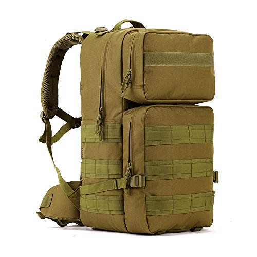 Tactical Backpack 55L Water Resistant Military Army Combat Rucksack Trekking Rucksack MOLLE Camping Hiking Backpack Green