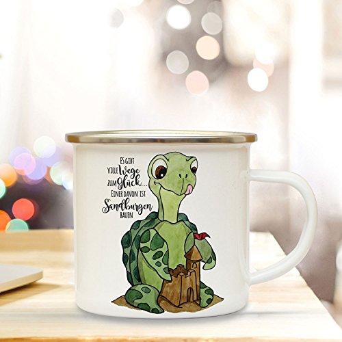 ilka parey wandtattoo-welt Emaille Becher Camping Tasse mit Schildkröte & Spruch viele Wege zum Glück. Kaffeetasse Geschenk Kaffeebecher eb92