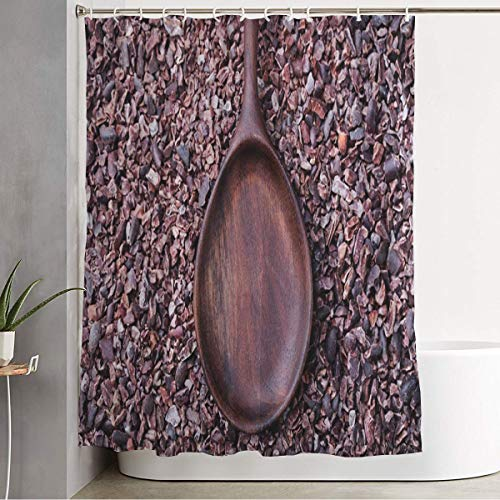 Staropor Shower Curtain Set with Hooks Decorative Brown Aroma Wooden Spoon On Crushed Raw Top Cocoa Food Drink Antioxidant Holidays Cacao Cafe Candy Bath Curtain Fabric Bathroom Curtain 60x72 Inch