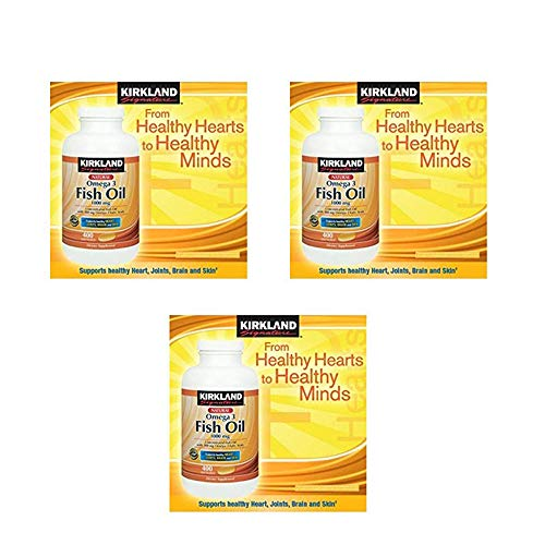 Kirkland Signature Natural Fish Oil Concentrate 1000 Mg with 300 Mg Omega-3 Fatty Acids - 400 Softgels - Pack of 3 for Total of 1200