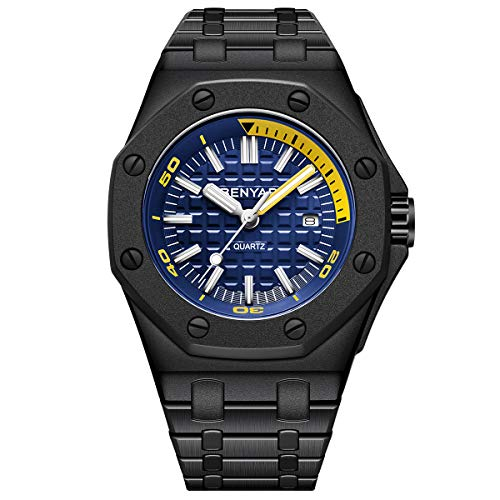 BENYAR - Reloj de Acero Inoxidable para Hombre   Movimiento de Cuarzo   Fashion Business Watch   30 M Impermeable y Resistente a los arañazos