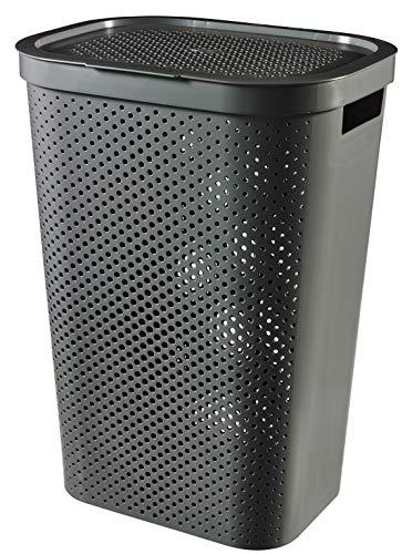 CURVER   Coffre à linge 60L Infinity , Gris Anthracite, 43,7 x 35,1 x 60,2 cm, Plastique recyclé