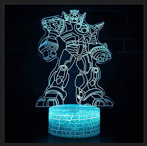 Lámpara De Noche 3D Luz Nocturna Infantil Lámpara Robot 7 Colores Control Remoto Toque Juguetes Decoración Navidad Regalo De Cumpleaños