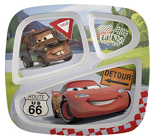 Zak! Designs 3-Section Plate featuring Lightning McQueen & Mater, Break-resistant and BPA-free Plastic