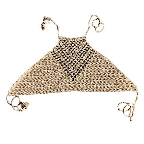 ZChun Frauen Sommer Aushöhlen Häkeln Crop Top Neckholder Boho Ethnic Bikini BH Einfarbig Bandage Backless Sleeveless Gestrickte Vertuschung Strandbekleidung (Khaki)