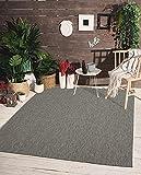 the carpet Mistra In- & Outdoor Teppich Flachgewebe, Modernes Design, Trendige Farben, Superflach, UV- und Witterungsbeständig, Anthrazit, 160 x 220 cm