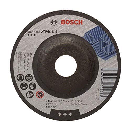 Bosch 2 608 603 181 - Disco de desbaste acodado Standard for Metal - A 24 P BF, 115 mm, 22,23 mm, 6,0 mm (pack de 1)
