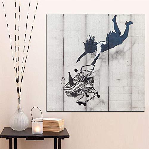 Straßen-Graffiti-Pop-Art-Mädchen, das mit dem Einkaufswagen-Leinwand-Wandbild für Wohnzimmer A 70x70CM füllt
