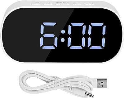 Fdit LED Digital Wecker Spiegel Wecker Bedside USB Port und batteriebetriebene Snozze Temperaturanzeige MEHRWEG VERPAKUNG(#1)