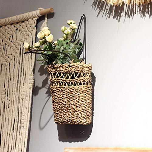 Cesta de flores de mimbre con asa - Cesta de flores tejida a mano, cestas de flores para colgar en la pared para flores secas, flores y plantas - Cestas de almacenamiento para el hogar multifunción