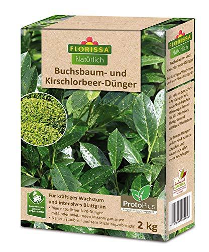 Florissa Natürlich BIO Buchsbaum- und Kirschlorbeer-Dünger | Unterstützt die Grünfärbung der Blätter | für gesundes Wachstum und schnelle Nährstoffaufnahme | 2kg