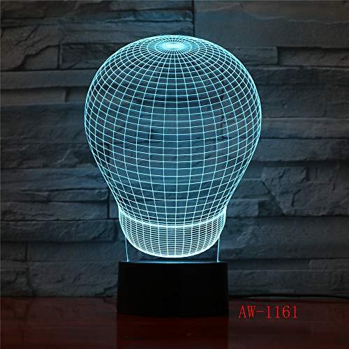 Solo 1 pieza 3D 7 colores Bola abstracta Visión estéreo Acrílico USB Luz nocturna Habitación para niños Mesita de noche Lámpara LED táctil