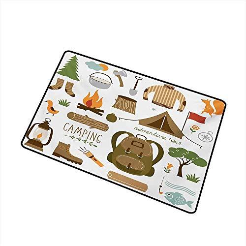 Fußmatte Teppich Camping Ausrüstung Schlafsack Stiefel Lagerfeuer Schaufel Beil Log Kunstwerk Drucken Maschinenwaschbar Fußmatte Multicolor