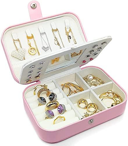 Recet Joyero pequeño, mini joyero para mujer, 2 capas, portátil, adecuado para pendientes, anillos (rosa)