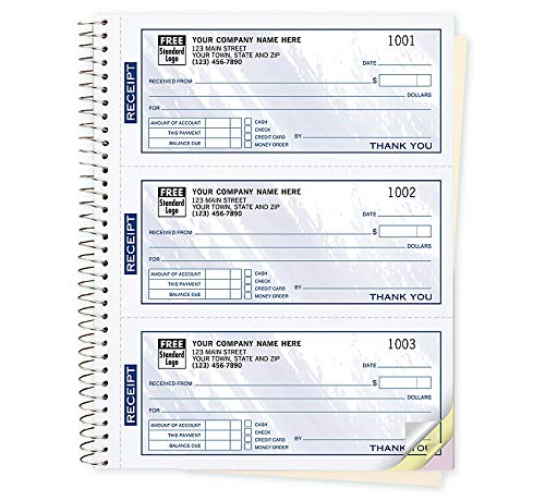 Receipt Payment Book, Customized Imprint, 3-to-a-Page Receipt Books, 2-Part, White, 500 Receipts