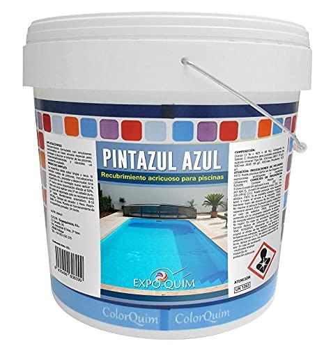 Pintura para Piscinas Azul al Agua Impermeabilizante Protectora (25 KG, AZUL)