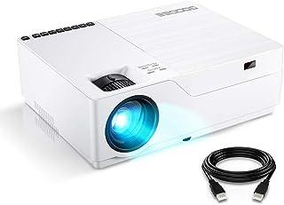 GooDeeプロジェクター 1920*1080リアル解像度 令和元年初発売 4500lm LED 300インチ大画面 ネイティブ1080P 4KフルHD対応 高コントラスト HIFIスピーカー内蔵 ホームプロジェクター ビジネス用可能 USB/HDMI/VGA/AV/SDカード対応 日本語&英語取扱書 ホワイト