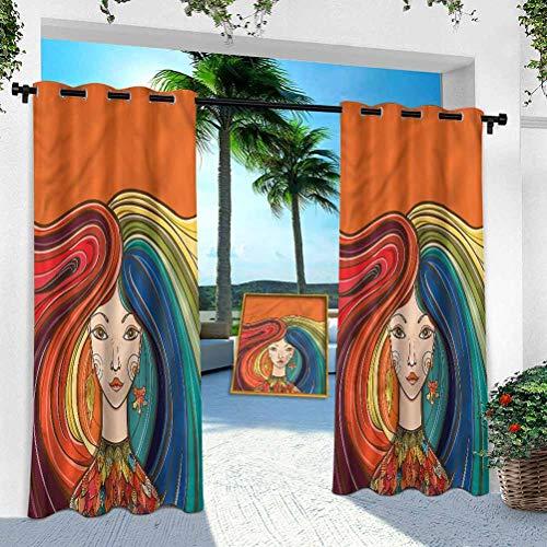 Aishare Store - Cortina para patio al aire libre, diseño de hojas secas, 132 x 213 cm, resistente para interior para porche, balcón, pérgola, toldo, cenador (1 panel)