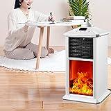 HQL Calentador de Chimenea Creativo Blanco Llama de simulación 3D, Calentador de Estufa de Espacio eléctrico con Control Remoto, Calentamiento rápido de un Segundo