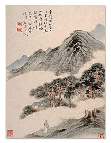 waitingposter behang bergen schilderij klassiek landschap canvas schilderij woonkamer muurkunst HD print schilderij wooncultuur afbeelding 20x28inch(50x70cm) A