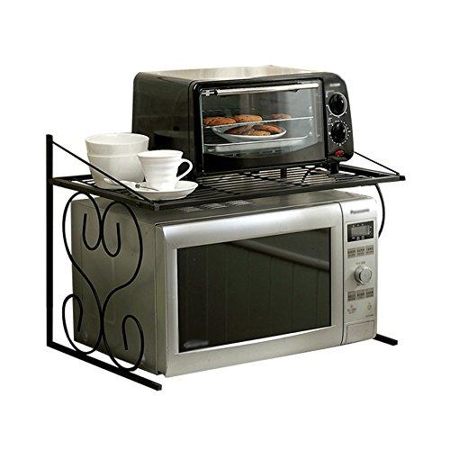 ZWL Rack de four à micro-ondes, mode Artistic Sense économiser de l'espace Riz cuiseur plateau de stockage de condiments noir fer Art cuisson peinture multifonction deux étages taille: 55 * 37.5 * 40 cm , une bonne aide pour le stockage de la cuisine ( taille : 55*37.5*40cm )