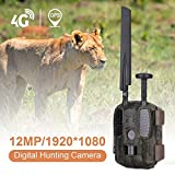 qianqian 4G GPS Wild Camera Photo Trap 12MP 1080P con Transmisión De Teléfono Móvil,Cámara De Caza Impermeable IP66 con Sensor De Movimiento LED De 940 NM,Visión Nocturna Infrarroja 20M