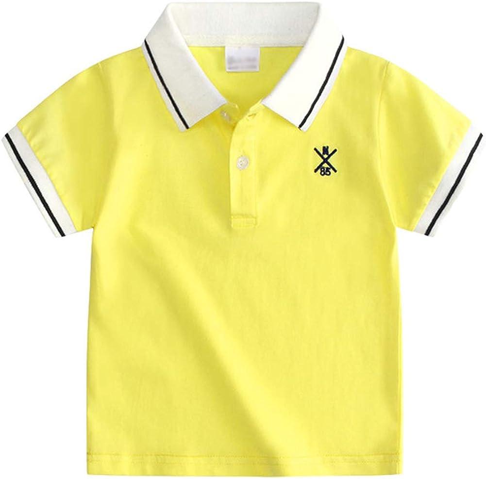 Toddler Boys Kid Cotton Uniform Short Sleeve Polo Shirt Sweatshirt Tops