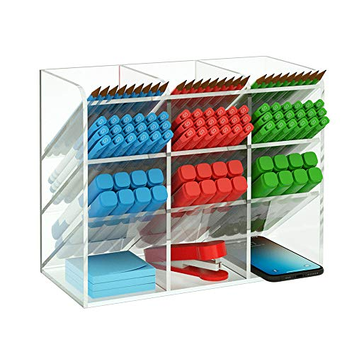 NIUBEE Acrylic Desk Organizer, Clear Pen Pencil Holder for Office School Stationary Art Craft Supplies Storage with 12 Compartments