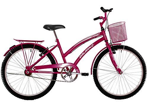 Bicicleta Aro 24 Feminina Susi Rosa Pink Com Para-lama e Cesta