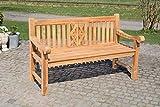 CLP Teak-Gartenbank Florida I Sitzbank Mit Ergonomischer Sitzfläche Aus Vollholz I Sitzhöhe: 44 cm, Farbe:Teak, Größe:200 cm