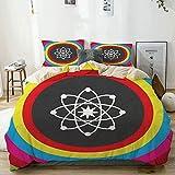 Juego de funda nórdica beige, modelo Atom con círculos de colores, molécula, química, biología, física, laboratorio, órbita, juego de cama decorativo de 3 piezas con 2 fundas de almohada, fácil cuidad