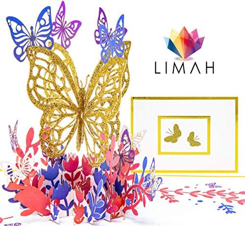 LIMAH® Premium Pop Up 3D Grußkarte/Hochzeit-Karte, Muttertag-Karte, Geburtstag-Karte, Dankeskarte Geschenkkarte/Schmetterling Motiv/in Gold/Groß