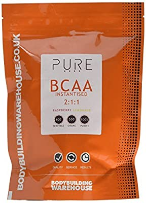Bodybuilding Warehouse Pure iBCAA 2:1:1 (Instantised Branch Chain Amino Acid) Powder (Raspberry Lemonade, 500g)