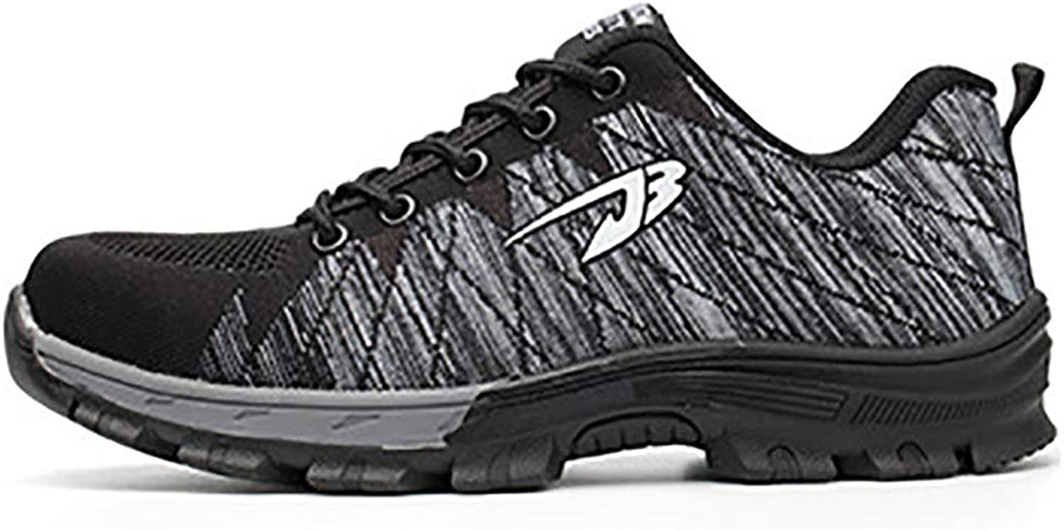 Work shoes Lightweight and comfortable men's and women's casual shoes, work safety shoes, steel toe cap, flying woven sports shoes, rubber soles, breathable mesh, puncture-proof, labor insurance shoes