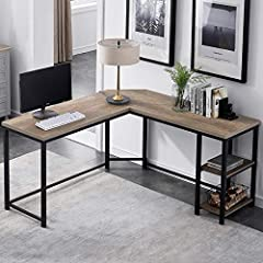 Functional and Fashionable: This understated l shaped desk anchors your home office in style, as fashionable as it is functional. Sporting a industrial finish, this l desk is crafted of metal frame and high grade MDF in a classic L-shaped silhouette....