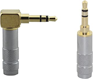 [2pcs] 3.5mm Stereo Right Angle Male Plug and 3.5mm Stereo Straight Male Plug Gold Plated Solder Connector [Wv-lstp-2ls]