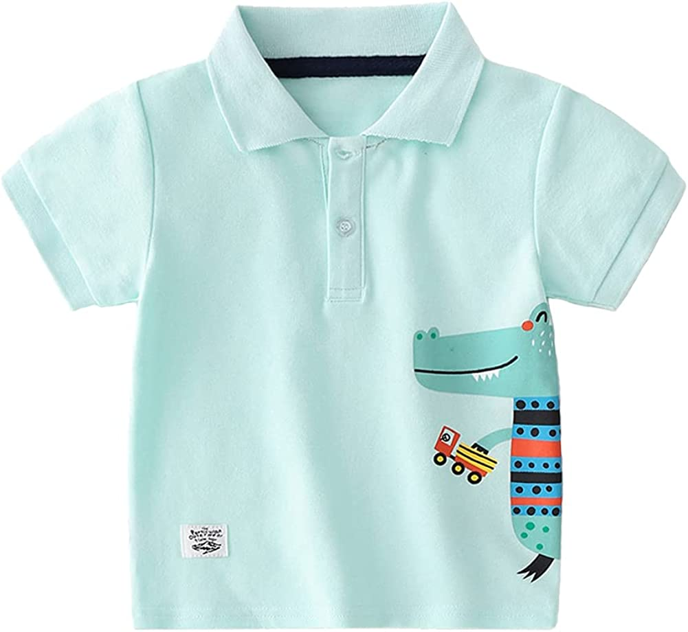 Motteecity Boys Clothes Cars Traffic Embroidered Casual Short Sleeves Polo Shirt