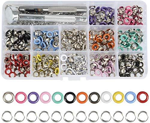 MEESOGA Grommet Werkzeug Kit 5mm Metallösen - 360Pack 12Farben Grommet Ösen Scheiben 5mm mit Aufbewahrungsbox Locheisen Einschlagstempel Ösen für Leder Stoff Handwerke Projekte