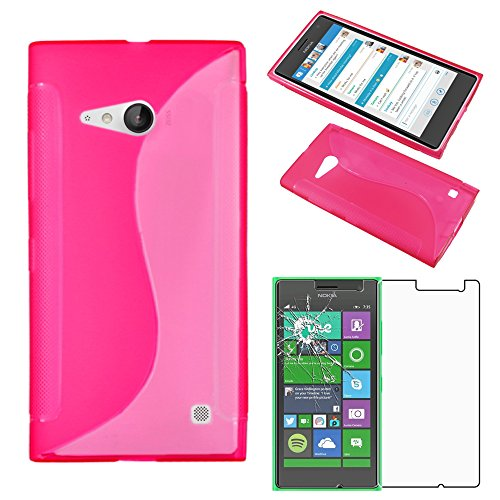 ebestStar - kompatibel mit Nokia Lumia 735 Hülle Lumia 730 dual TPU S-line Style Silikongel Handyhülle, Schutzhülle Hülle Cover, Pink + Panzerglas Schutzfolie [Phone: 134.7 x 68.5 x 8.9mm, 4.7'']