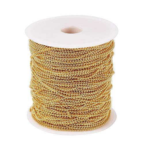 PandaHall Cadenas de bolas de hierro de 2 mm de metal dorado con cuentas de extensión para hacer joyas