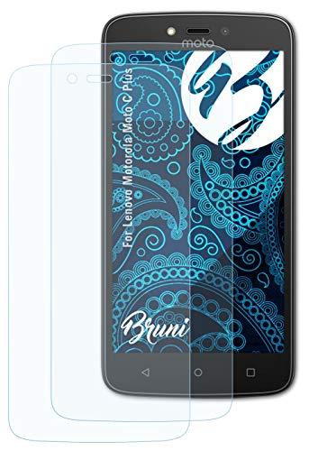Bruni Schutzfolie kompatibel mit Lenovo Motorola Moto C Plus Folie, glasklare Bildschirmschutzfolie (2X)