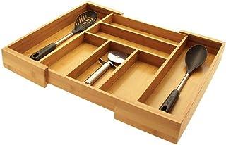 Bandeja para Cubiertos de Cocina, Organizador para Cajones de Cocina, Hecho de Bambú Natural