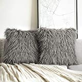 Phantoscope Pack of 2 Faux Fur Throw Pillow Covers Cushion Covers Luxury Soft Decorative Pillowcase Fuzzy Pillow Covers for Bed/Couch,Grey 18 x 18 Inches