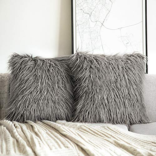 Phantoscope Pack of 2 Faux Fur Pillow Covers Throw Pillows Cases, Luxury Series Plush Cushion Case Mongolian Style, Grey 18 x 18 inches 45 x 45 cm