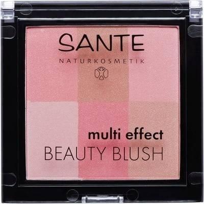 SANTE Multi Effect Beauty Blush Coral 01 - Pour un teint frais, radieux et revitalisé - Poudre soyeuse - Offre 6 teintes - Aussi lumineux qu'un highlighter -