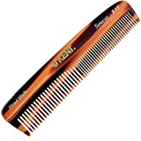 Kent R7T Double Tooth Hair Pocket Comb, Small Fine/Wide Tooth Comb For Hair, Beard and Mustache, Coarse/Fine Hair Grooming Comb for Men, Women and Kids. Saw Cut Hand Polished. Handmade in England